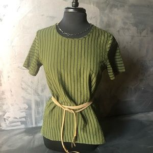 J. Crew Shadow Sheer Stripe blouse Green -  SZ8